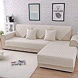 Sofabezug Für Haustiere Sofa Anti-rutsch Schmutzresistent Segmentierte Sofaabdeckung L Plaid bedruckter Sofabezug, White, 90 * 160cm