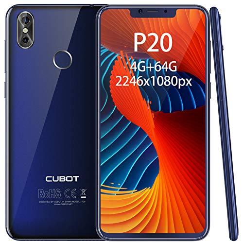"CUBOT P20 Smartphone 6.18"" FHD, 2246×1080, 4GB+ 64GB, Octa-Core, Batteria 4000mAh, Fotocamera 20MP + 2MP / 13MP, Octa-Core, 0.1s Sensore di impronte, 4G Cellulare, Blu [CUBOT OFFICIALE]"