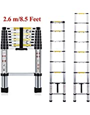 Plantex Telescopic Ladder/Aluminium Extension Portable Foldable Ladder with EN131 Certified (2.6 m/8.5 ft; Silver)