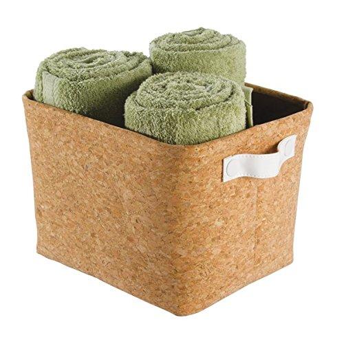 mDesign Bathroom Vanity Contenitore Organizzatore per Asciugamani, Shampoo, Balsamo, Cosmetici, Prodotti di Bellezza - Medio, Sughero/Bianco