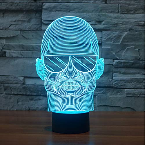 Bunte Visuelle 3D Led Nightlight Mit Sonnenbrille Mann Modellierung Schreibtischlampe Für Schlafzimmer Usb Lampe Dekor Nachttischlampe
