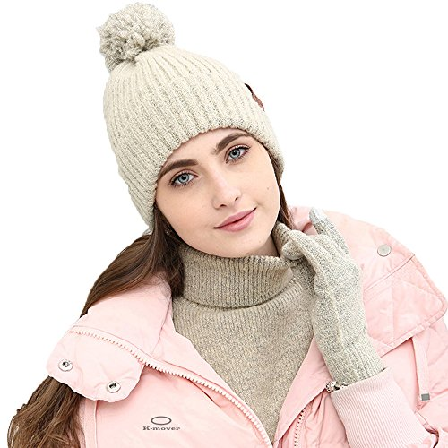 5c757f36d K-mover Womens Beanie Winter Hat Scarf Set Slouchy Warm Knit Skull Cap  Touchscreen Gloves - Beige -