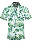 Herren Hawaii Hemd Kurzarm Flamingos Aloha Party Shirt Palm Beach Shirts Leaf Print EHS007-M