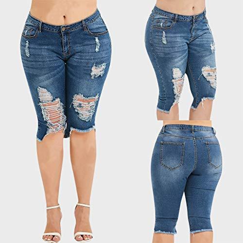 Kleider Damen Sommer DOLDOA Womens Fashion Casual Broken Knee Length Pants Pocket Denim Jeans (S, Blau) - Zurück Bootcut Denim Jeans