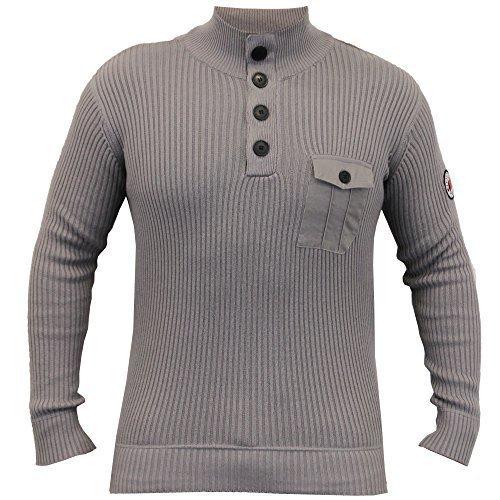 Pullover Herren Crosshatch Strickpulli Pullover Waffel Reißverschluss Oben Freizeit Winter Neu Titan - PENDALTON