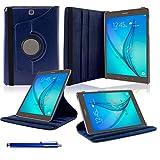 Samsung Galaxy Tab A 9.7 Funda, SAVFY® Giratoria 360 grados Stand PU Funda Flip Set ( con Auto Reposo / Activación Función ) + Paño de Limpieza + Protector de la Pantalla + Lápiz Optico para Samsung Galaxy Tab A 9.7 Pulgadas T550 - Azul