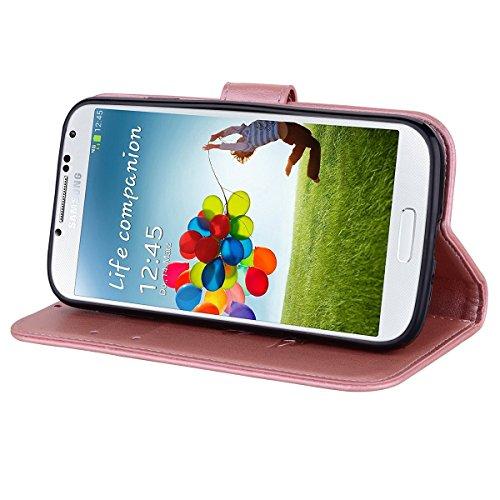 Coque Samsung S4 Anfire Fleur Motif Peint Mode Coque PU Cuir pour Galaxy S4 Etui Case Protection Portefeuille Rabat Étui Coque Housse pour Samsung Galaxy S4 i9500 (5.0 pouces) Luxe Style Livre Pochett Rose
