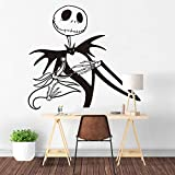 ljradj Jack Skellington Etiqueta de La Pared Pesadilla Antes de Navidad Decoración del Hogar Zero Dog Living Room Decoration Decoración de Moda Blanco 42X45 CM