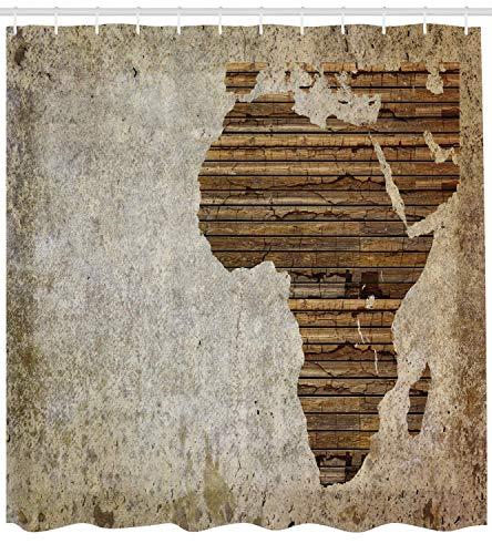 AdaCrazy Geography Theme Vintage Holzbrett Afrika Karte Digitaldruck afrikanisches Dekor Duschvorhang Stoff-Badezimmer-Dekorset mit Haken Tan Umber -