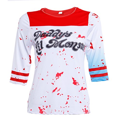 Blutige Suicide Squad Harley Quinn T-Shirt Damen Kostüm Cosplay Joker Top Halloween Karneval (Damen Monster Kostüme)