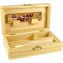 RS Boîte en bois de 155x85x48mm, pour cigarettes à rouler, 3compartiments avec compartiment secret, planchette à rouler, médium.
