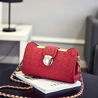 WYFDM Kleine Ketten-Quilted Shoulder Bag, Mini-Kreuzkarodkörpers und Handtaschen-Kupplung Classic Evening Bag Patent Leder ODY Bag,Red