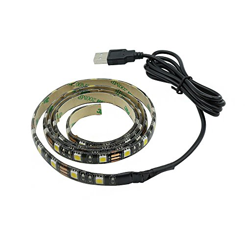 KAIPUZM 2M Streifen Lichtleiste 5050 SMD LED Band Umgebungslicht für Fernsehapparat Computer Schrank (Warmweiß)