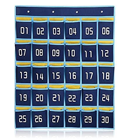 Fittoway 30-Pocket Numbered Classroom Pocket Chart for Cell Phones Holder Wall Door Hanging Organizer with Hooks (Dark Blue)