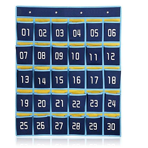 Fittoway 30 Taschen nummeriert, fürs Klassenzimmer, Taschendiagramm für Handys, Wand- und Tür-Hänge-Organizer mit Haken (dunkelblau)