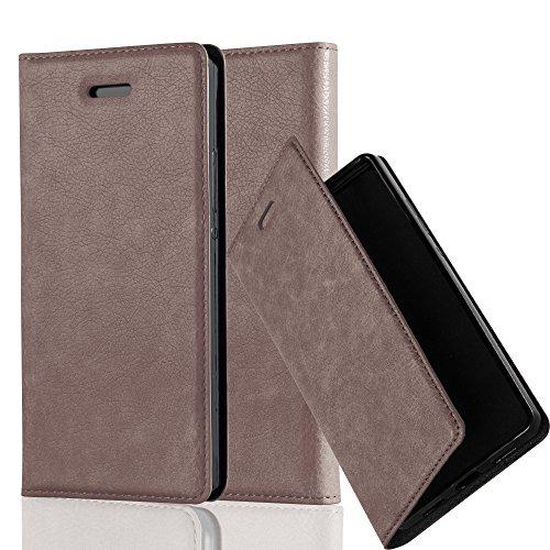 Cadorabo Hülle für Huawei P7 - Hülle in Kaffee BRAUN - Handyhülle mit Magnetverschluss, Standfunktion & Kartenfach - Case Cover Schutzhülle Etui Tasche Book Klapp Style
