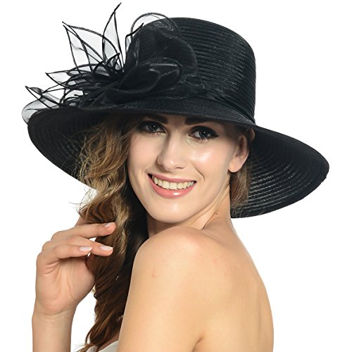 Damen Eichen Derby Kirchen Kleid Britischen Tee Party Hochzeit Hüte S052 (Schwarz)
