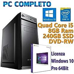 PC Computer Desktop fisso, nuovo con Windows 10 Pro Intel Quad Core i5-2400 3.10GHz RAM 8GB SSD 240GB DVD-RW Ideale per ufficio Internet Casa Lavoro Aziende Gestionale Scuola