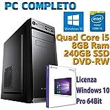 PC COMPUTER DESKTOP FISSO NUOVO CON WINDOWS 10 PRO INTEL QUAD CORE i5-2400 3.10GHz RAM 8GB SSD 240GB DVD-RW USB 3.0 GARANZIA 2 ANNI IDEALE PER UFFICIO INTERNET CASA LAVORO AZIENDE GESTIONALE SCUOLA