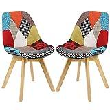 2x Esszimmerstühle 2er Set Esszimmerstuhl Design Stuhl Küchenstuhl Holz, Neu Design, Mehrfarbig, BH29mf-2-a