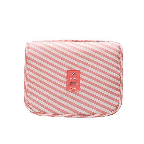 Fleulumira viaggi toilette borsa - impermeabile toiletry borsa multifunzione cosmetico bagf (rosa fringe)