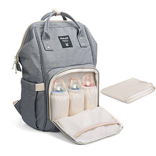 Baby Wickelrucksack Wickeltasche mit Wickelunterlage Multifunktional Segeltuch Große Kapazität Babytasche Kein Formaldehyd Reisetasche für Unterwegs (Hellgrau)