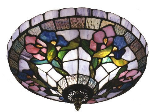 Dale Tiffany Flush (Dale Tiffany 7096/3LTF Hollyhock Flush Mount Light, Antique Brass and Art Glass Shade by Dale Tiffany Lamps)