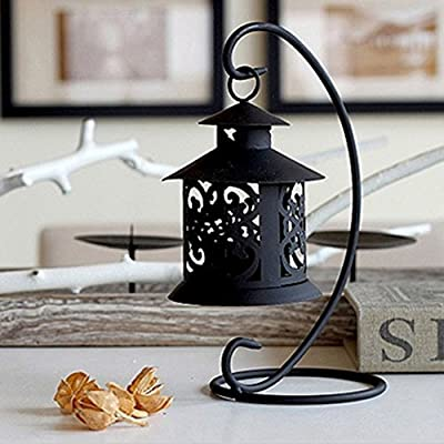 Garden mile® Stylish Black Metal Hanging Moroccan Style Candle Lantern Table Filigree Tealight Votive Candle Holder from Garden mile®