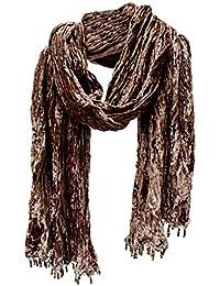 Crushed Crinkle Velvet Scarf Stole Shawl Wrap Wood Bead Fringe Dk Coffee Pink