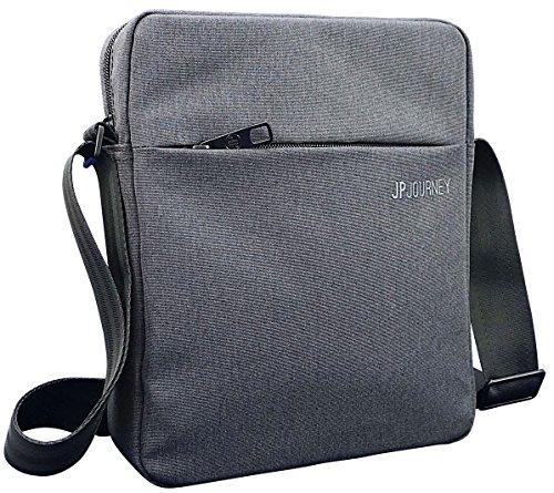 Herren Messenger (JP Journey, kleine Umhängetasche mit Tablet Fach bis 10,5 Zoll für iPad - Android - eBook, 2 Anti-Diebstahl-Fächer und Karabiner, Damen, Herren, grau)