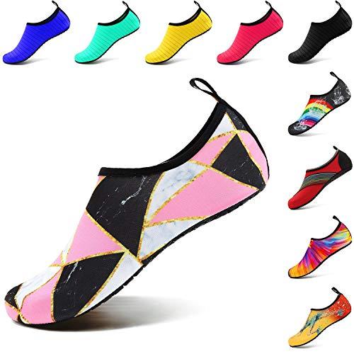 VIFUUR Wassersport Schuhe Barfuß Quick-Dry Aqua Yoga Socken Slip-on für Männer Frauen Kinder Marmor Splice EU36/37 - Tabellen Lange