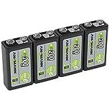 ANSMANN Akku 9V Block 200mAh NiMH 4 Stück mit geringer Selbstentladung - Wiederaufladbare Batterien maxE mit hoher Kapazität - 9 Volt Batterie für Messgerät Multimeter Spielzeug Fernbedienung uvm.