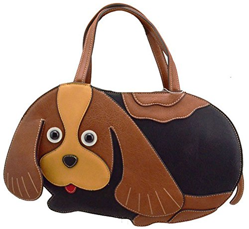 Ukfs Lady Girl Cucciolo Charlie The Dog Borsetta In Pelle / Tracolla Marrone