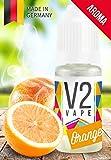 V2 Vape Orange AROMA/KONZENTRAT hochdosiertes Premium Lebensmittel-Aroma zum selber mischen von E-Liquid/Liquid-Base für E-Zigarette und E-Shisha 10ml 0mg nikotinfrei