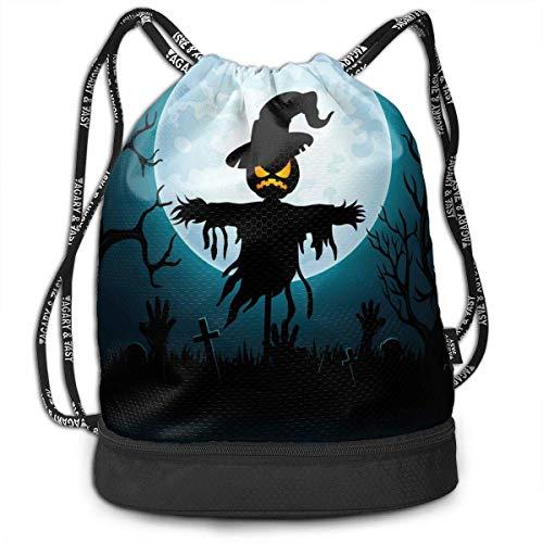 NI Scary Scarecrow in Grave Fashion Outdoor-Shopping-Rucksack aus Segeltuch Bündeltasche Rucksack Rope-Pulling Bag Sporttasche für Fitness-Shopping-Yoga