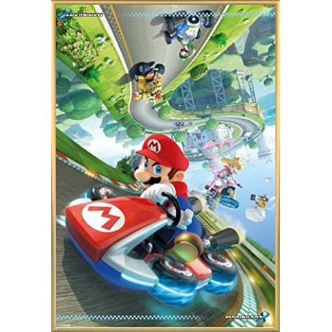 Super Mario Póster con Marco (Plástico) - Kart 8, Princesa Peach, Luigi (91 x 61cm)