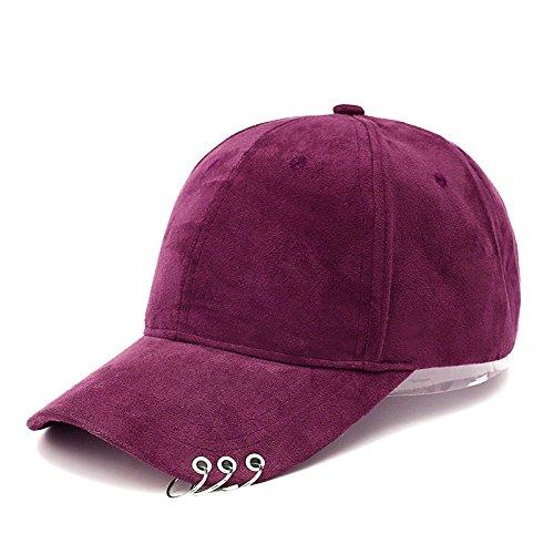 Velour-baseball-cap (ALWLJ Hochwertiger Velours Unisex Safety Pin Gebogen Hüte Baseball Cap Männer Frauen Snapback Caps Hip Hop Mütze Rot)