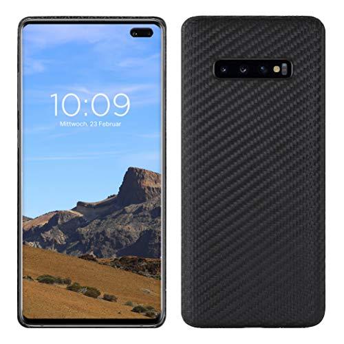 VIVERSIS Echte Carbon Hülle für Samsung Galaxy S10 Plus, schwarz, ultradünn, leicht, robust, kabelloses Laden, Premium Qualität - Made in Germany