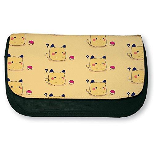 Trousse noire de maquillage ou d'école Pikachu Pokemon Chibi Kawaii - Fabriqué en France - Chamalow shop