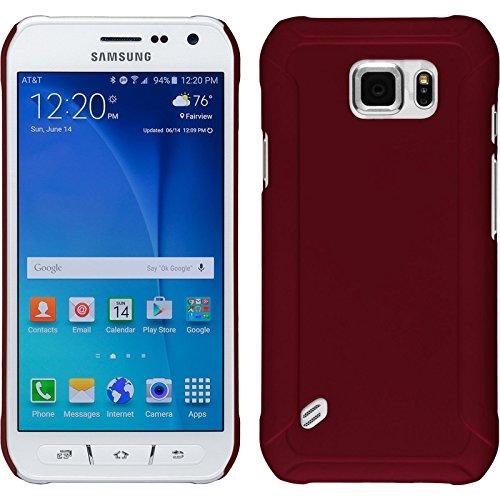 PhoneNatic Case für Samsung Galaxy S6 Active Hülle rot gummiert Hard-case + 2 Schutzfolien