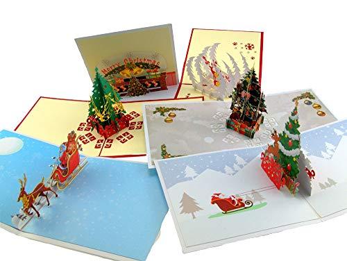 Pop-Up-Weihnachtskarten, 3D, handgefertigt, mit Umschlägen und Weihnachtsmann-Aufklebern, 5 Stück (Christus Happy Jesus Birthday)
