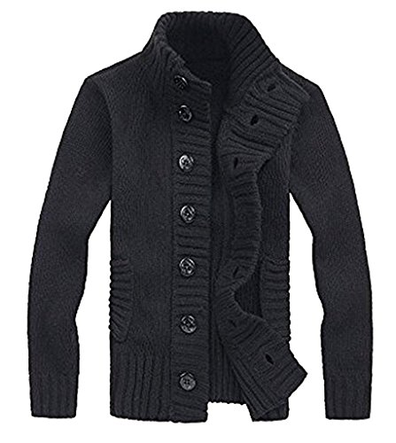 Gillbro Men's Button Point Stand Collar Tricot¨¦ Slim Fit Cardigan Sweater B