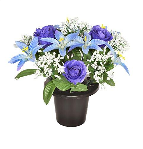 Grabvaseneinsatz /Blumentopf mit künstlicher blauer Lilie und Rose, 25cm