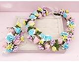 ZGP &Kopfschmuck Krone Blumen-Kranz, Stirnband-Blumen-Girlande-Handgemachtes Hochzeits-Braut-Partei-Band-Stirnband Wristband Hairband Rosa/Weiß (Farbe : A)