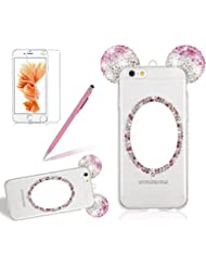 "Coque pour iPhone 6/6S Plus Miroir Diamant,Girlyard Ultra Fine Transparente Mince Couleur Brillant 3D Mignonne Paillette Oreille de Mouse Motif Dessin Anime Cas Couverture Housse Etui pour Apple iPhone 6/6S Plus 5.5"" Souple Silicone Antichoc Bling Dur Rigide Strass Bumper Coque avec Protection écran et Stylo - Rose"