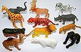 12 x trendy Wildtiere (Zootiere) im Mix Spieltier Gummitier spielen+sammeln Mitbringsel 5255