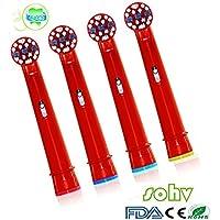 SOHV® estándar recambios cabezales para cepillos de dientes eléctricos para niños para para Braun Oral-B (EB10–4), 4pcs (1unidades)