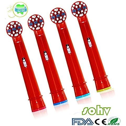 SOHV® estándar recambios cabezales para cepillos de dientes eléctricos para niños para para Braun Oral-B EB10–4,4pcs