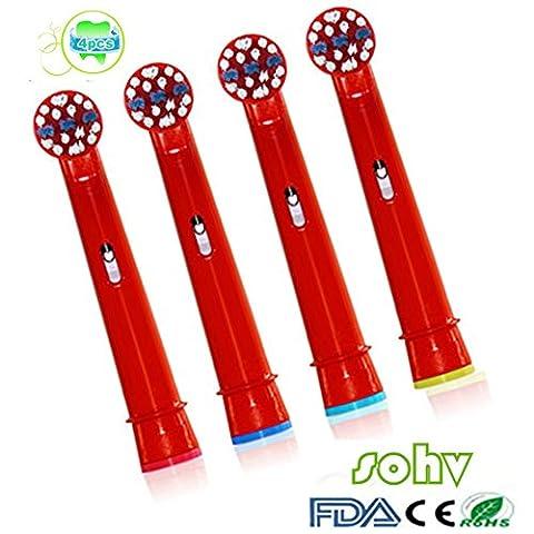 Sohv® Ersatz Aufsteckbürsten, kompatibel mit Braun Oral-B Stages Power Aufsteckbürsten(für elektrische Zahnbürsten), EB10-4/EB-10A, 4 Stk(1er Pack).