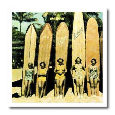 3drose HT _ 46610_ 25Vintage Damen in Hawaii mit Surf boards-iron auf Heat Transfer Papier Für weiß Material, 6von 6